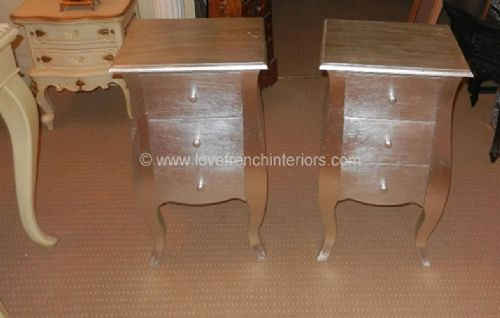 Rochelle Pair of Curvy French Bedsides in Silver Leaf